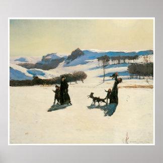 Campos de nieve, Rockwell Kent 1909 Póster