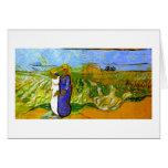 Campos de travesía de las mujeres de Van Gogh dos Tarjetas