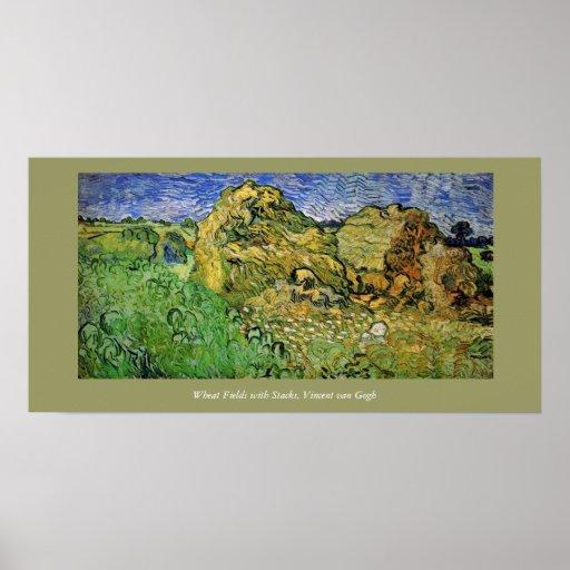 Campos de trigo con las pilas, Vincent van Gogh Posters