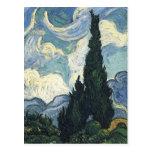 Campos de trigo de Vincent van Gogh con los cipres Postal