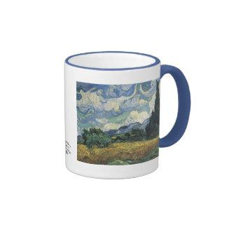Campos de trigo de Vincent van Gogh con los cipres Tazas De Café