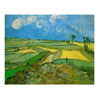 Campos de trigo en Auvers debajo de las nubes de V Póster