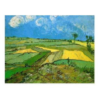 Campos de trigo en Auvers debajo del cielo Postales