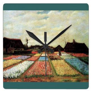 Campos del bulbo de Vincent van Gogh. Reloj Cuadrado