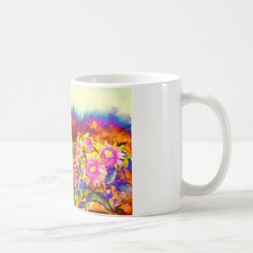 Campos del girasol taza básica blanca
