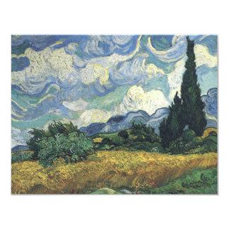 """Campos del trigo de Vincent van Gogh con los Invitación 4.25"""" X 5.5"""""""