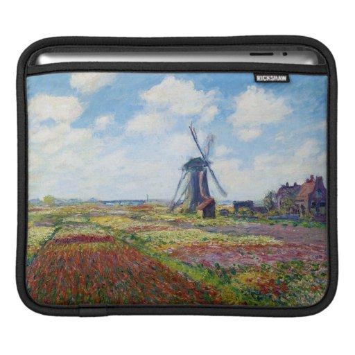Campos del tulipán con el molino de viento Monet d Fundas Para iPads