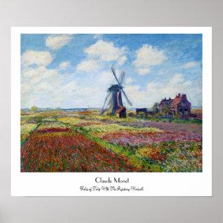 Campos del tulipán con el molino de viento Monet d Posters