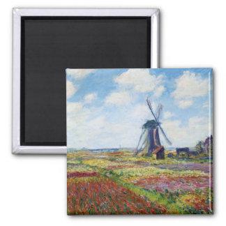 Campos del tulipán con el molino de viento Monet Imán Cuadrado