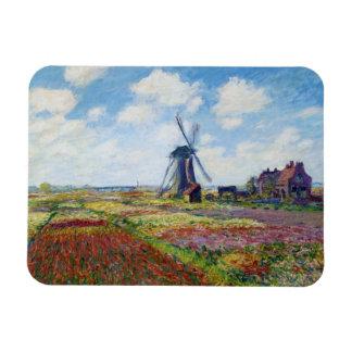Campos del tulipán con el molino de viento Monet Iman Rectangular
