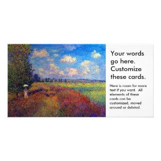Campos impresionistas de la amapola del arte del tarjeta fotografica