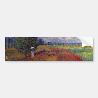 Campos impresionistas de la amapola del arte del v pegatina de parachoque