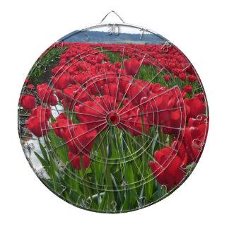 Campos rojos del tulipán tablero dardos