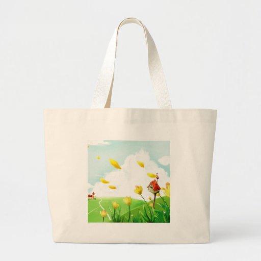 Campos ventosos de la flor abstracta bolsa de mano