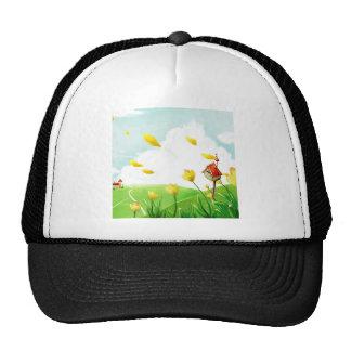 Campos ventosos de la flor abstracta gorra