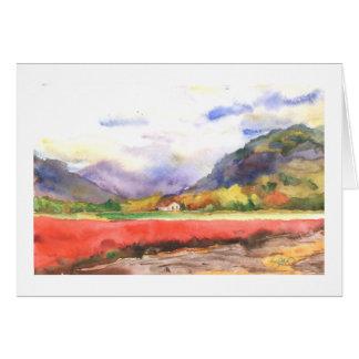 Campos y montañas del arándano de la caída tarjeton