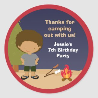 Campout Birthday Party Favor Stickers sticker