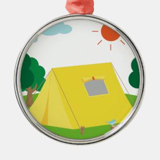 Campsite Cartoon Metal Ornament