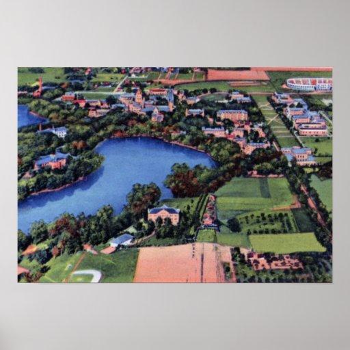 Campus universitario del ND de South Bend Indiana Póster