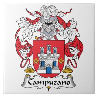 Campuzano Family Crest Large Square Tile