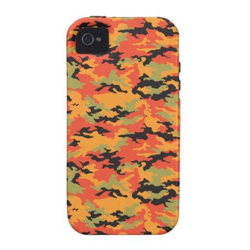 Camuflaje anaranjado del resplandor del tigre iPhone 4/4S funda
