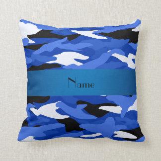 Camuflaje azul conocido personalizado cojín