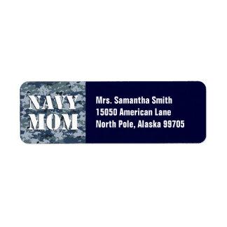 Camuflaje azul de la mamá de la marina de guerra etiqueta de remite