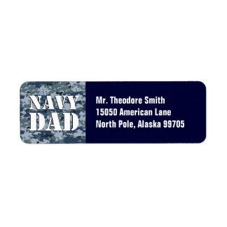 Camuflaje azul del papá de la marina de guerra etiquetas de remite