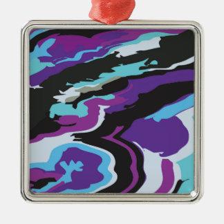 Camuflaje azul púrpura adorno navideño cuadrado de metal