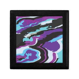 Camuflaje azul púrpura joyero cuadrado pequeño