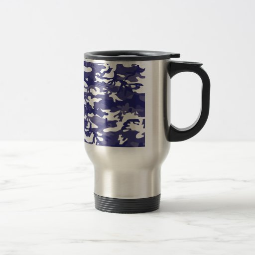 Camuflaje azul taza de viaje de acero inoxidable