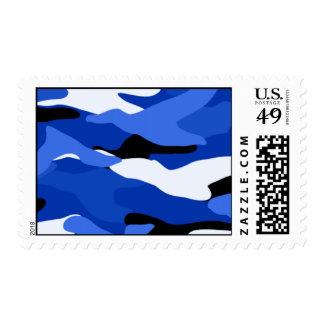 Camuflaje azul timbre postal
