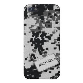 Camuflaje blanco y negro de Digitaces con la etiqu iPhone 5 Carcasas