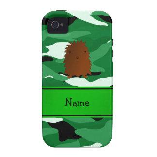 Camuflaje conocido personalizado del verde de vibe iPhone 4 fundas