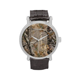 Camuflaje de Camo que caza el reloj de cuero real
