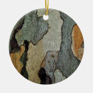 Camuflaje de la corteza de árbol ornamento de navidad