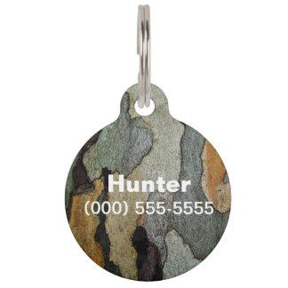 Camuflaje de la corteza de árbol identificador para mascotas
