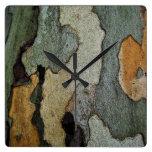 Camuflaje de la corteza de árbol reloj de pared