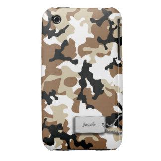 Camuflaje de los militares de Brown y del moreno Case-Mate iPhone 3 Cobertura