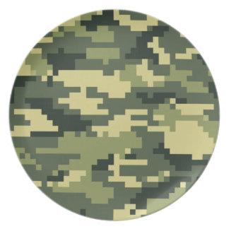 Camuflaje del arbolado del pixel de 8 pedazos platos para fiestas
