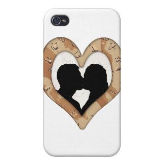 Camuflaje del desierto (1) que besa la silueta de iPhone 4/4S carcasa