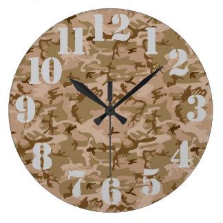 Camuflaje del desierto reloj redondo grande