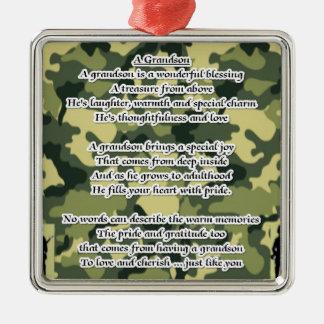 Camuflaje del ejército del poema del nieto adorno cuadrado plateado