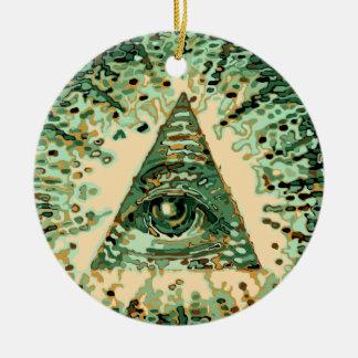 Camuflaje fresco y único Illuminati Adorno Navideño Redondo De Cerámica