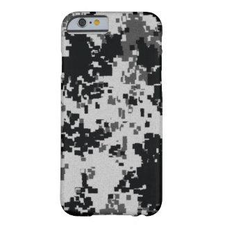 Camuflaje negro y blanco funda de iPhone 6 barely there