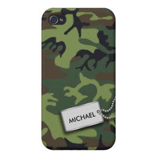 Camuflaje personalizado verde caqui iPhone 4 protectores