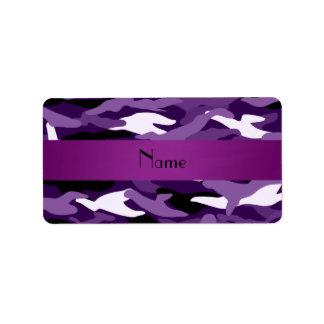 Camuflaje púrpura conocido personalizado etiqueta de dirección