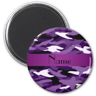 Camuflaje púrpura conocido personalizado imán redondo 5 cm