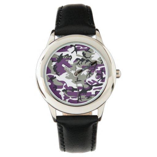 Camuflaje púrpura relojes de mano