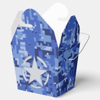 Camuflaje retro de los azules marinos de la caja para regalos